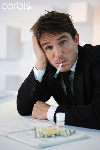 Businessman feeling sick
